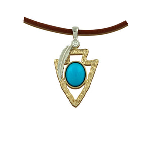 Turquoise Gold arrowhead pendant 14K TT gold diamond sleeping beauty turquoise