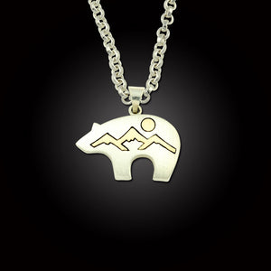 Bear fetish pendant bear mountain sterling silver 10K yg