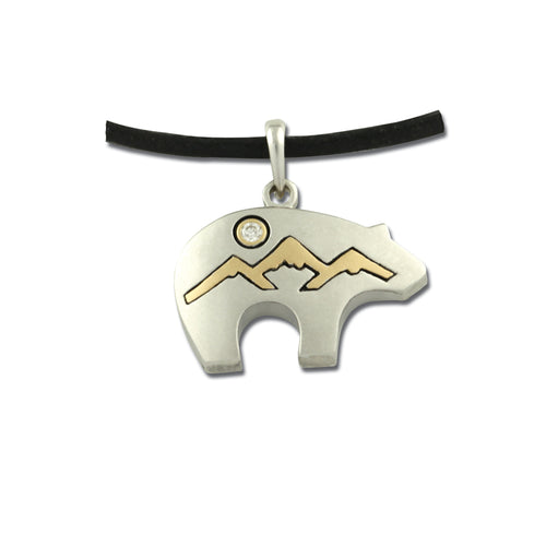 bear fetish pendant bear mountain 14K TT gold diamond