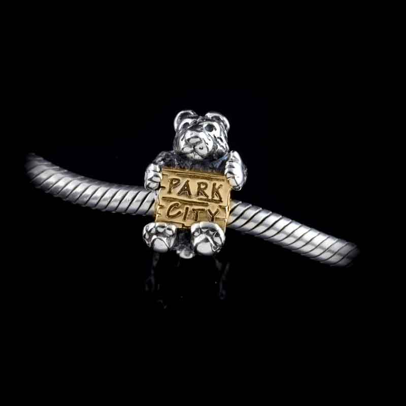 Bear with Park City Sign TT sterling silver and 10K YG