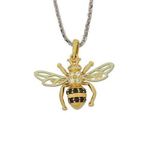 Bee Pendant - 14K TT gold black diamonds white diamonds white gold chain