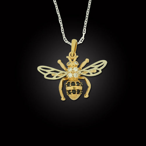 Bee Pendant - 14K TT gold black diamonds white diamonds