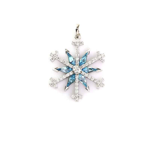 Special cut blue topaz and diamond pave snowflake necklace - 14K WG
