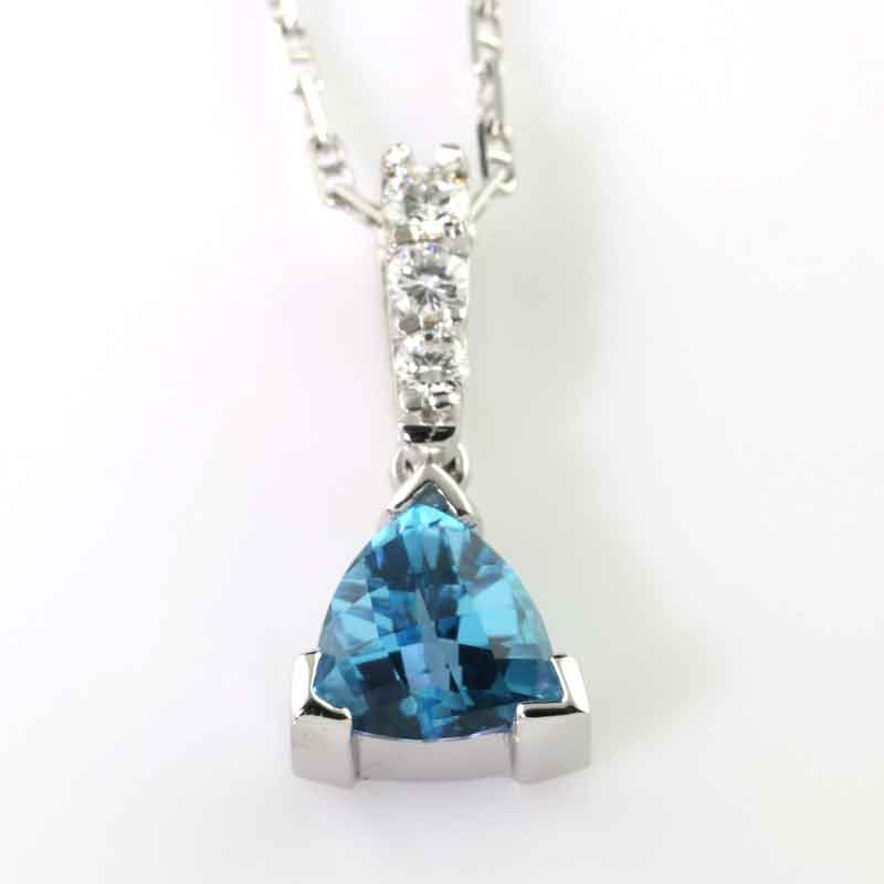 Blue Topaz Diamond Drop Pendant 14K WG