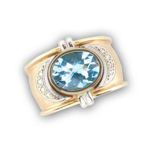 blue topaz oval and diamond gold ring 14K TT gold