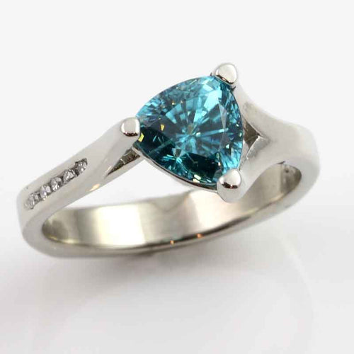 Trillion Blue Zircon Diamond Ring 14K WG