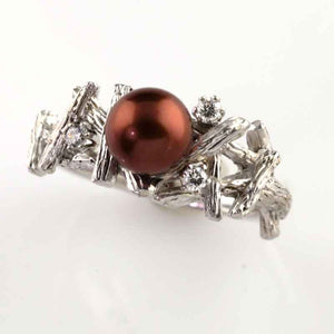 Chocolate Pearl Diamond Branch ring 14K WG