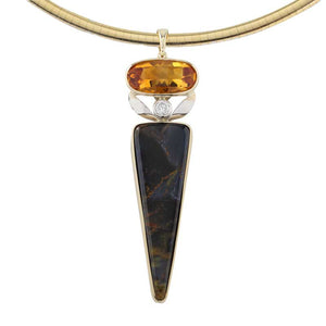 Citrine diamond Pietersite inlay pendant 14K YG