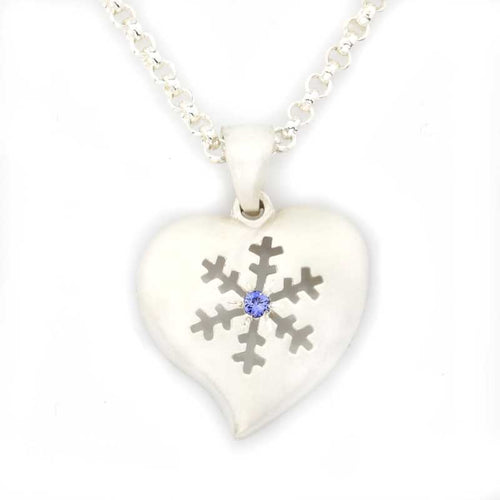 Snowflake Heart Pendant Necklace - Sterling Silver Blue Sapphire