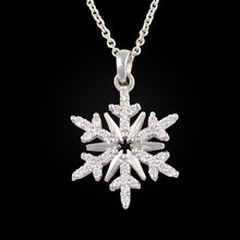 Load image into Gallery viewer, diamond snowflake necklace pave diamond .15 ctw diamonds 14K WG