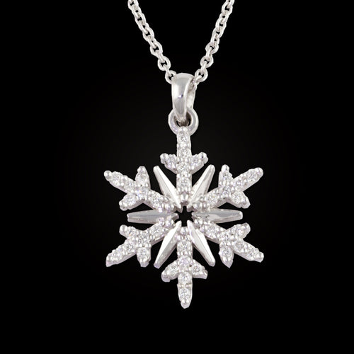 diamond snowflake necklace pave diamond .15 ctw diamonds 14K WG