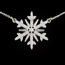 Load image into Gallery viewer, diamond pave snowflake .34 ctw diamond 14K WG on adjustable 14K WG cable chain