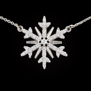 diamond pave snowflake .34 ctw diamond 14K WG on adjustable 14K WG cable chain