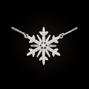 diamond pave snowflake .34 ctw diamond 14K WG adjustable 14K WG cable chain