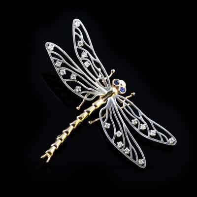 Dragonfly pendant pin 14K TT gold diamonds sapphires