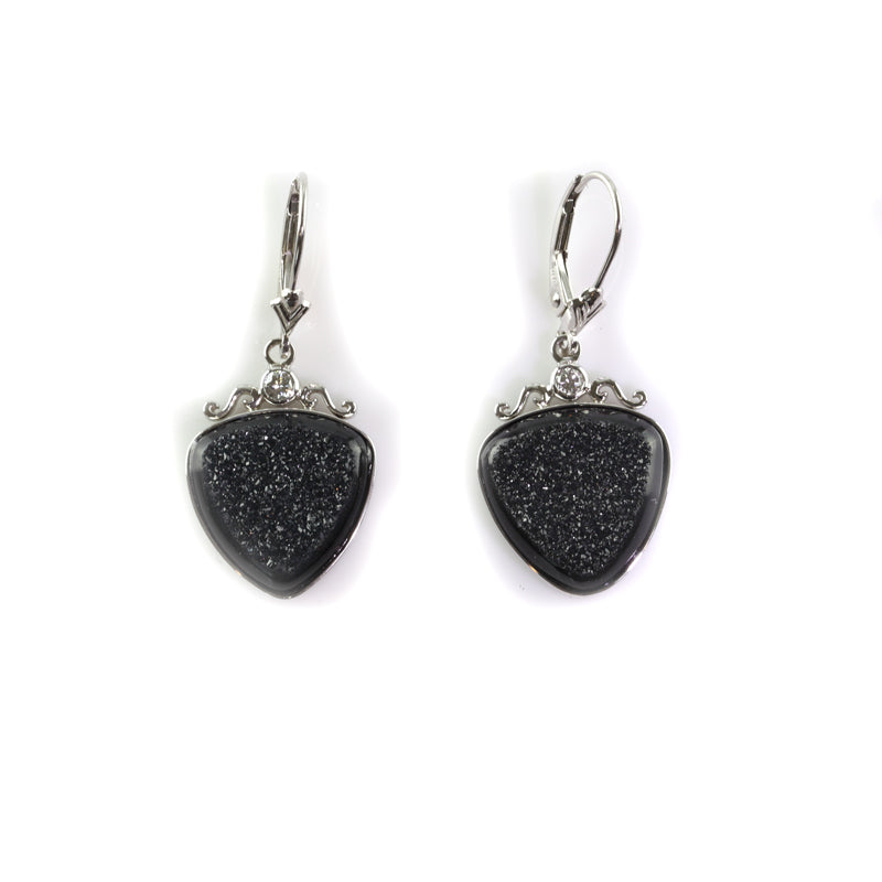 Diamond and Black Drusy Earrings 14K WG