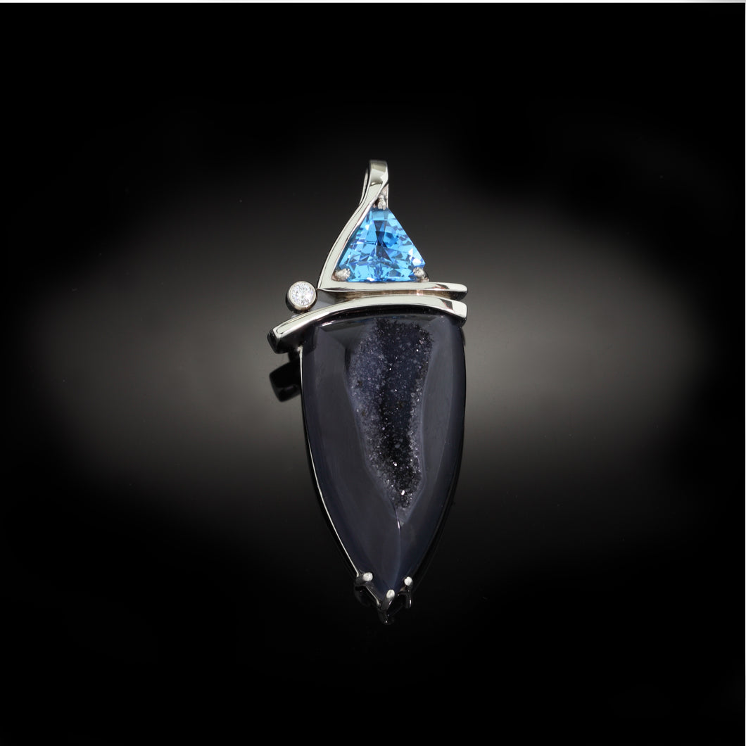 Druzy Pendant with Blue Topaz Trillion and Diamond 14K WG