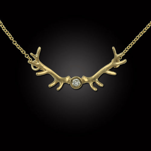 Elk antler necklace 14K YG diamond on cable chain
