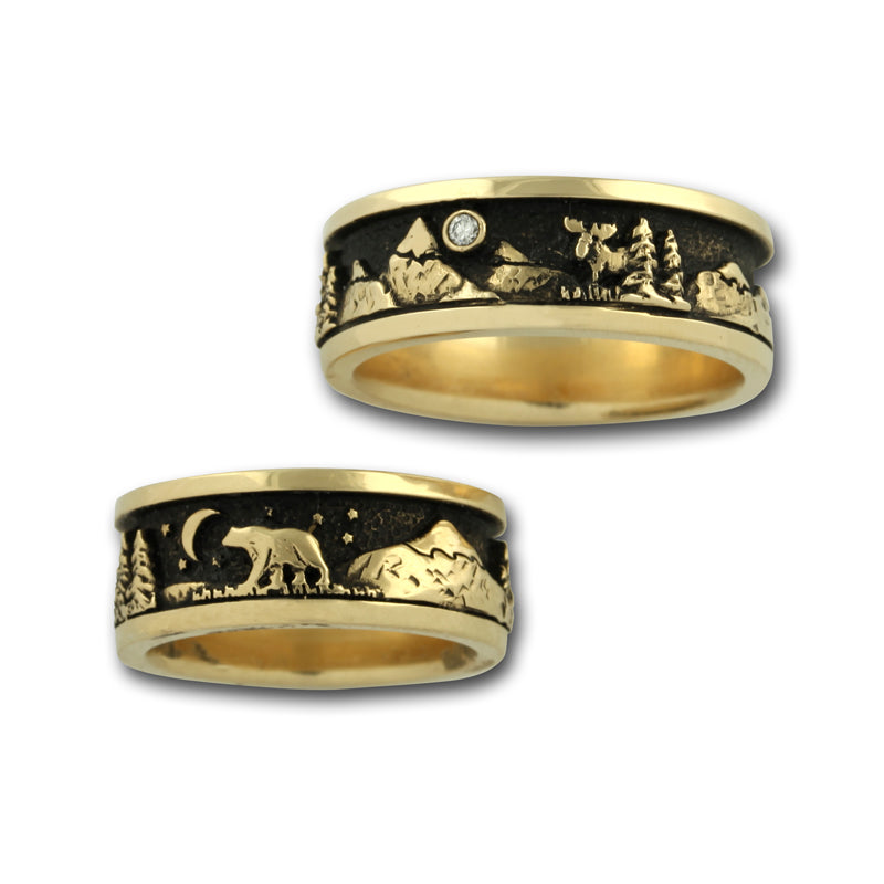 Mountain Ring with Moose Bear and Trees - 14K Gold or Sterling Silver