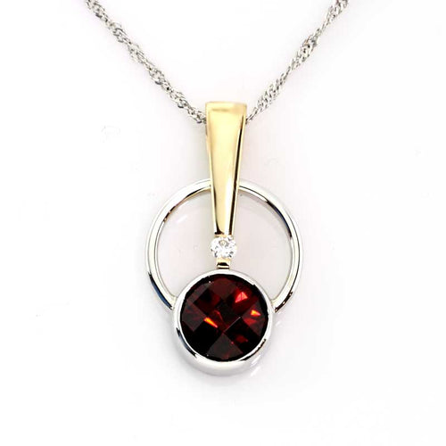 Garnet Diamond gold circle pendant 14K TT gold