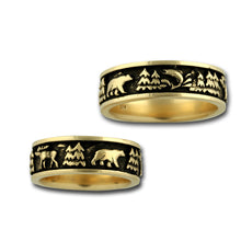 Load image into Gallery viewer, wild life ring moose bear elk fish 14k yellow gold