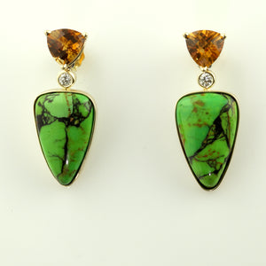 Citrine and Green Turquoise Inlay Earrings with Diamonds 14K YG