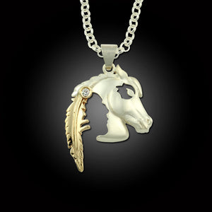 Horse Indian Pendant - Indian Horse head pendant - sterling silver 10K YG
