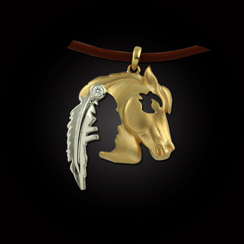 Horse Pendant - Indian Horse Head Gold - 14K TT Gold