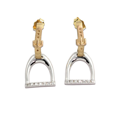 Horse Stirrup Earrings - English Stirrup Earrings - 14K TT Diamonds