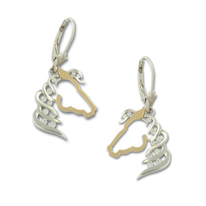 Diamond Horse Silhouette earrings - 14K TT gold diamonds