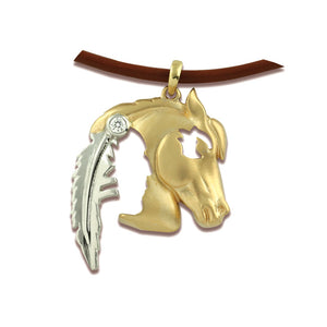 Gold Indian Horsehead Pendant Small - 14K TT gold