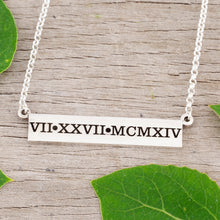 Load image into Gallery viewer, Roman Numeral wedding date bar necklace roman numeral jewelry
