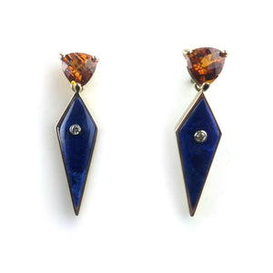 Citrine, Diamond and Lapis Earrings in 14K Yellow gold