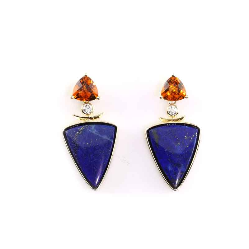 Citrine Diamond and Lapis Inlay Earrings 14K YG