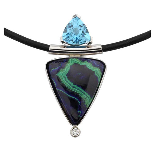 Malachite Azurite Topaz Pendant with Diamond Necklace