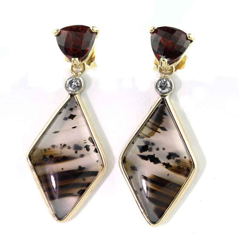 Red Garnet Diamond Montana Agate Earrings 14K YG