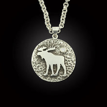 Load image into Gallery viewer, Moose disk pendant with crystal sterling silver