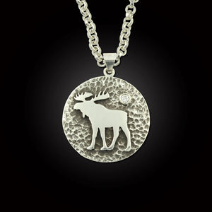 Moose disk pendant with crystal sterling silver