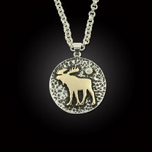 Load image into Gallery viewer, Moose Disk Pendant Necklace - Sterling Silver and Sterling Silver 10K YG