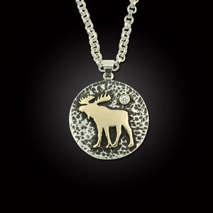 Moose Disk Pendant Necklace - Sterling Silver and Sterling Silver 10K YG