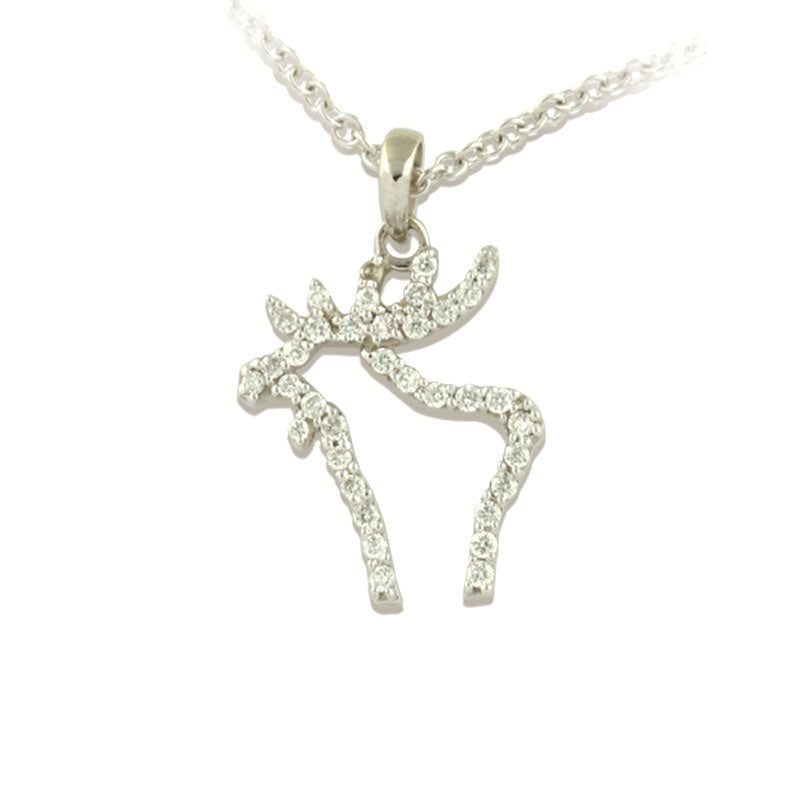 pave diamond moose silhouette necklace 14K WG Diamonds