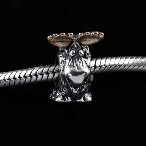 moose with gold antler bracelet bead in sterling silver 10K YG