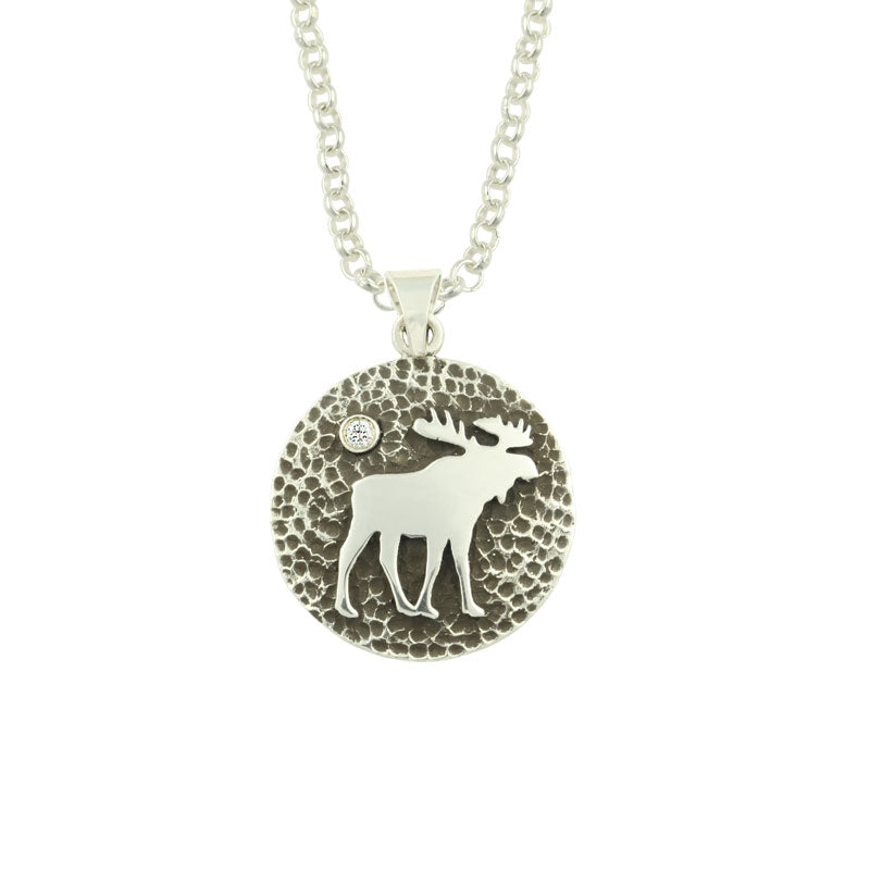Moose disk Pendant SS with crystal sterling silver