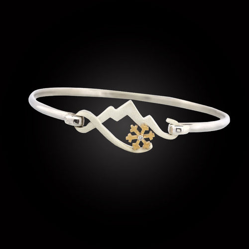 Mountain bracelet with gold snowflake sterling silver 10K YG diamond