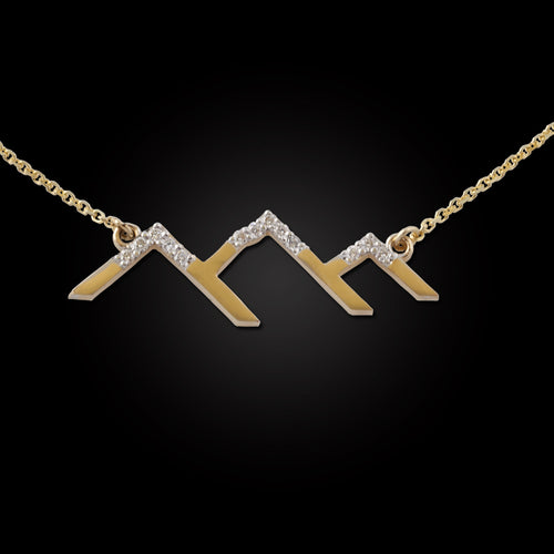 gold diamond mountain silhouette necklace diamond snow