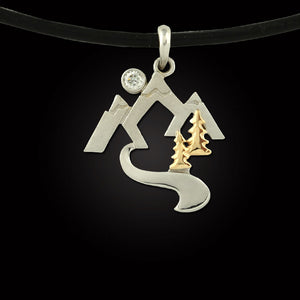 mountain stream necklace with trees and moon 14K yellow and white gold with diamond