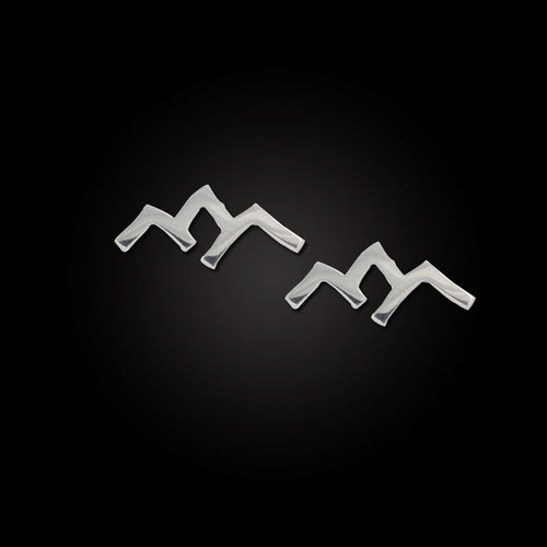 Mountain Silhouette Earrings - Sterling Silver and 14K YG