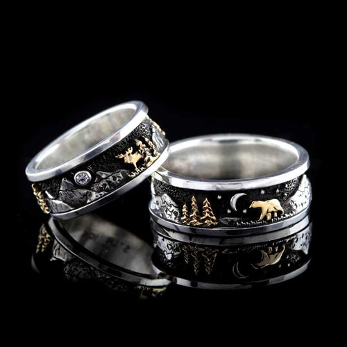 mountain ring TT silver and 10K YG bear moose trees moon