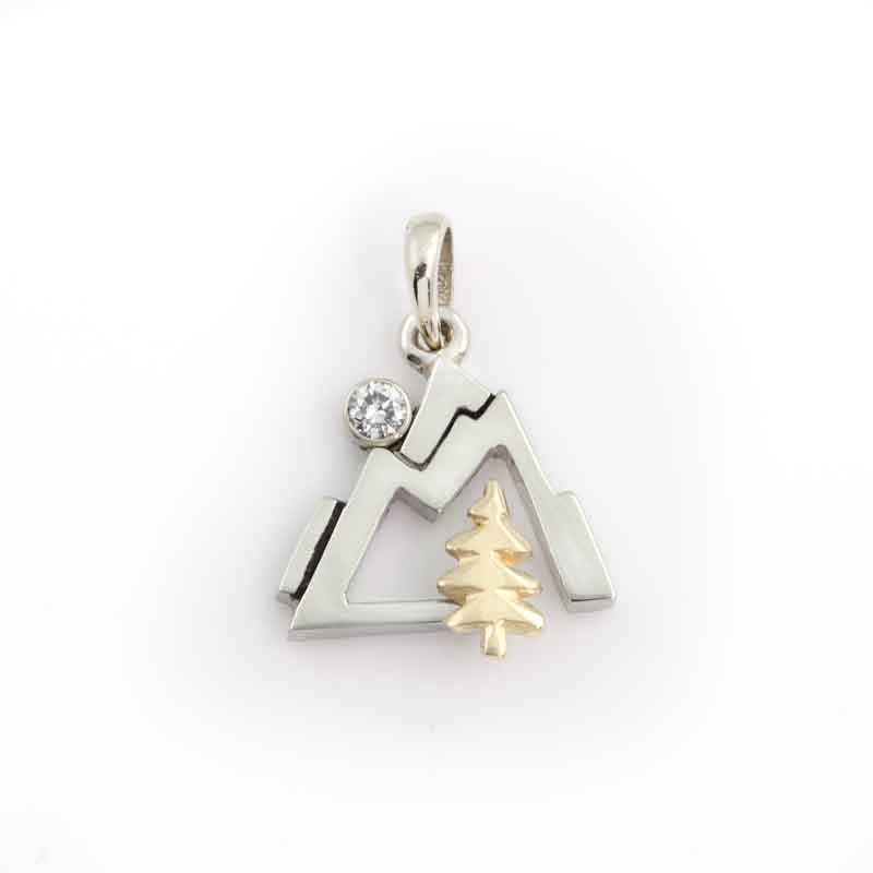 mountain pine pendant with diamond moon 14K TT gold diamond