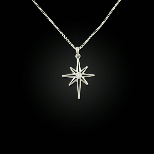 North Star Pendant - 14K WG Diamond